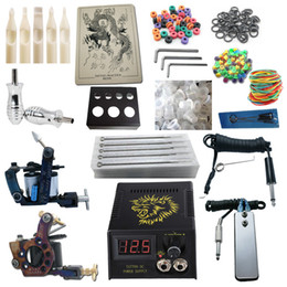 Wholesale 2 Pro Machine Guns Tattoo Kit Power Supply Needles Grips Tips Beginner Kits PK2