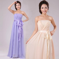 Strapless A-Line Floor-Length 2014 Bridesmaid dresses cheap A Line Strapless Floor-length Long Maxi Streamer Chiffon Party Prom Dresses 1