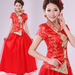Wholesale 2013 cheongsam bridal wear red marry bride dress evening dress cheongsam plus size summer