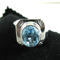 Wholesale 925 Silver Natural Topaz Blue Topaz plate ring men s rings send a certificate