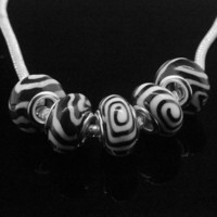 Wholesale Finding mm Zebra Polymer Clay Murano Spacer Big Hole Beads Fit Charm Bracelet