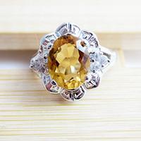 Natural crystal / semi-precious stones Citrine No. 8 , No. 6-7 , No. 9 No. 16 No. 14 No 925 sterling silver rings women rings silver natural citrine Lucky lucky stone