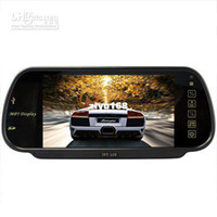 12V 0  Wholesale - 7 Inch MP5 SD USB Player FM Remote Controller Rearview Mirror Car Monitor