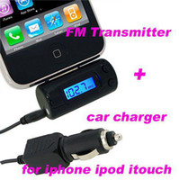 Wholesale new FM transmitter for iphone G GS itouch Ipod car charger