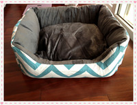 Wholesale cotton canvas pet chevron zig zag dog bed house with soft fleece inside removable cover mat washable four colors