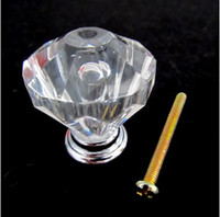 Wholesale 30mm Clear Crystal Knob Cabinet Pull Handle Drawer Kitchen Door Wardrobe Hardware