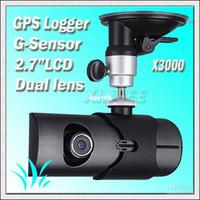 Wholesale car dvr Car black box Design Dual Lens Car Camera with GPS and D G Sensor X3000 FREESHIPPING