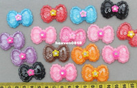 Fashion Beads Resin Set of 50 pcs mixed lovely Kawaii Bow Rhinestone Cabochon 35mm Cell phone decor, hair accessory supply, embellishment, DIY