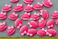 Jewelry Findings Yes scrapbooking Set of 50 pcs cake with bow fuschia Cabochons (25mm) Cell phone decor, hair accessory supply, embellishment, DIY project supply