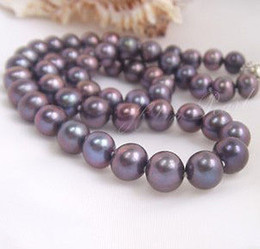 Wholesale NEW FINE PEARL JEWEJRY Genuine10 mm nches AAA Akoya Black purple Pearls Necklace silver
