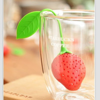 Wholesale 9 cm Creative Red Strawberry Silicone Tea Infuser Eco Friendly Tea Strainer Home Decor SH096