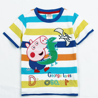 Wholesale Newest Nova Summer Clothes Boys Cotton Tees Top Short Sleeve Peppa Pig George Pig w Dinosaur Striped T Shirt Cartoon Kids Casual Shirts