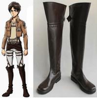 Wholesale Japanese Cartoon Anime cosplay Shingeki no Kyojin Attack on Titan Eren Jäger Boots Cosplay Costume Shoes