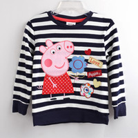Wholesale Purple lot18m y tunic top peppa pig embroidery for girl long sleeve T shirt