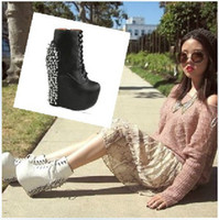 Ankle Boots Cowskin Chunky Heel JEFFREY CAMPBELL style woman wedges rivets high heeled short boots pumps ladies ankle naked boots shoes footwear