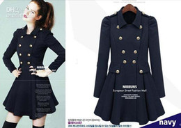 Wholesale - 2013 new monde OL Double-breasted women's coats women's trench coats Skirt womens coats Women's Outwear woolen coat navy