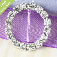 Wholesale MIC Round Crystal Rhinestone Ribbon Slider Buckles Wedding Invitations mm a0645