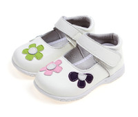 Wholesale kids leather shoes white mary jane with colored flowers retail