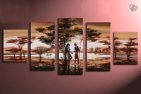 Cheap hand-painted wall art forest lake scenery lovers decoration abstract Landscape oil painting on canvas 5pcs set Frameless draw