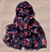 Wholesale Korea fashion styles purplish blue beige colors chiffon skull rose flower square scarves shawl cm cm