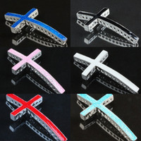 Wholesale Side Ways Metal Crosses - New Finding - Curved Side Ways Enamel Cross Charm Connector Bracelet Links Beads 30pcs