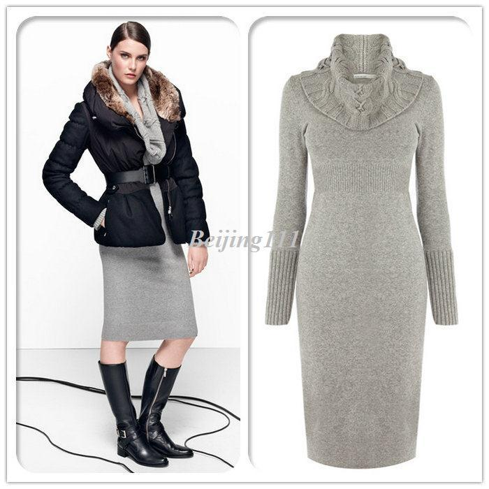 Long Sleeve Twisted Cable Knit Dress Ribbed Hem Kp149 Black Gray ...