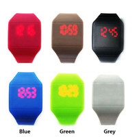 Wholesale Crazy Hotselling New Colorful Soft Led Touch Watch Jelly Candy Silicone Digital Feeling Screen Watches Free DHL FedEx Shipping