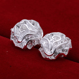 925 sterling silver Rose flower stud earings e003 holidays gift free shipping