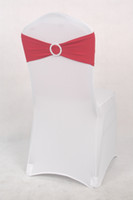 Wholesale burgundy spandex chair band with buckle for weddings