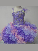 Wholesale 2013 Little Girl Fuchsia Princess Girl s Pageant Dresses Ruffled Organza Little Children Baby Party Gown