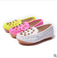 Wholesale New Baby Autumn Korean Style Candy Colors Pretty Skull Shoes Kids Unisex PU Leather Casual Shoes