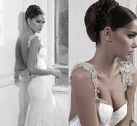 Wholesale New Royal Style Inbal Dror Lace Wedding Dress White Mermaid Stap Shining Backless Wedding Dress With Beads Chiffon Sweep Train