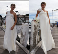 Empire dress one size - Winter Plus Size Wedding Dresses Empire One Shoulder Ivory Chiffon Pleat Floor Length Maternity Dress Bridal Gowns Dress For Bride