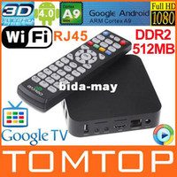 Wholesale Android Google TV Box ARM Cortex A9 WiFi HD P HDMI Internet TV Box DDR II M Set Top Box Media Player