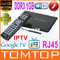 Wholesale 1G Google TV Box Android Cortex A9 HDMI HD P Wifi Internet Smart TV Set Top Box RJ45 Media Player W Remote
