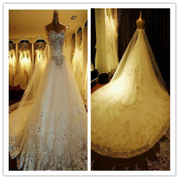 Wholesale Zuhair Murad Wedding Gowns Newest Luxury bride dress crystals cathedral wedding Free Veil Free PETTICOAT buy get