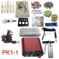 Wholesale Beginner Kits Pro Machine Guns Tattoo Kit Power Supply Needles Grips Tips