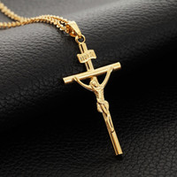 Wholesale 18K Real Gold Plated Cross Jesus Choker Necklace Pendant INRI Religious Jewelry Gift For Men Women MGC P208