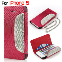 Luxury Diamond Bling Wallet Leather Case for iphone5 5 5S La...