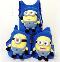 Wholesale 5 Despicable Me Cartoon Cut backpack children pp plush minions toy school bag Hongkong post