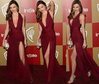 al por mayor vestido de zuhair murad miranda kerr-Miranda Kerr 2015 Zuhair Murad vestidos de la celebridad atractiva de Borgoña halter rajó la alfombra roja vestidos de cuerpo entero vestido de noche formal