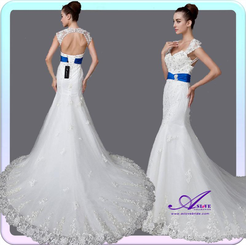 Blue Mermaid Wedding Dresses With Trains