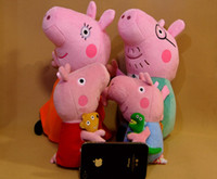 Wholesale 2013 new PEPPA PIG FAMILY TOYS with Teddy bear cm cm Cute Peppa Pig George Pig Pink Plush Doll Toy Stuffed Plush Cartoon Plush Kids Gift