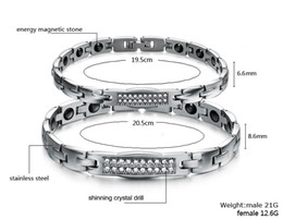 Wholesale Shining crystal drilled magnetic bracelet fashion titanium steel bracelets amp bangles for couples