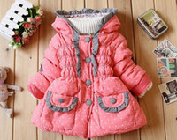 Boy Spring / Autumn Down & Parkas Hot parkas cheap sell 2013 children winter thickening coat baby girls dot bow warm jacket girl outerwear child clothing 3pcs lot