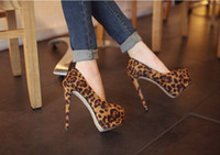 Wholesale new style super high heels lady s fashion sexy Leopard platform shoes party pumps eur size
