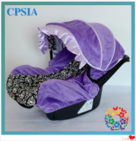 Wholesale Damask infant car seat cover fluffy lining purple damask infant car seat canopy cover sets