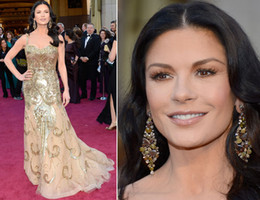 Wholesale Sexy Catherine Zeta Jones Celebrity Oscars Red Carpet Dresses Zuhair Muzard Tulle Sequins Backless Beaded Prom Evening Pageant Gowns