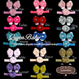 Wholesale Trial Order Baby Barefoot Sandals with shabby Flower and Matching wide Elastic Headband set QueenBaby