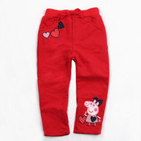Wholesale G4231 Red Nova Fresh stock Korean style m y baby girls casual pants peppa pig clothes cotton French terry trousuers for autumn winter